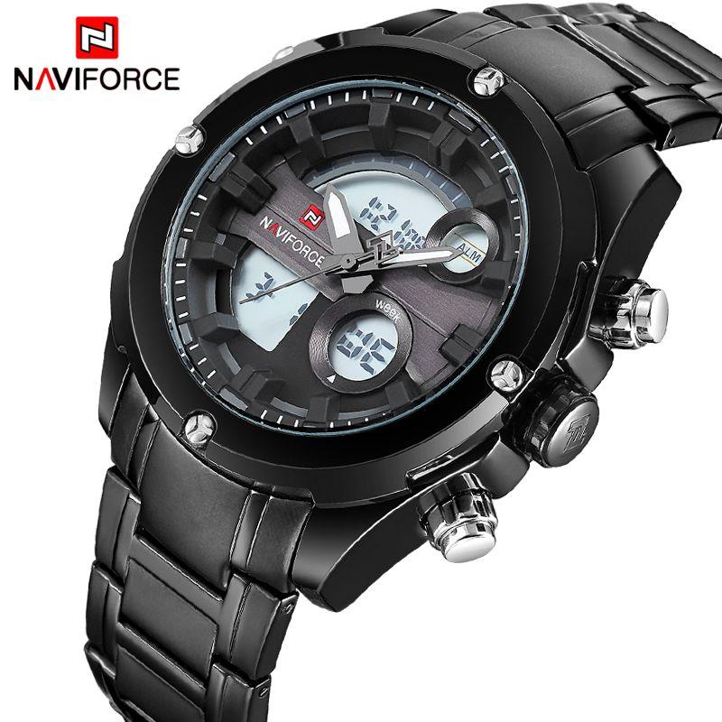 NAVIFORCE NEW Top Luxury Brand Men Waterproof Sports Watches Men's Quartz Analog LCD Wrist Watch Man Clock relogio masculino