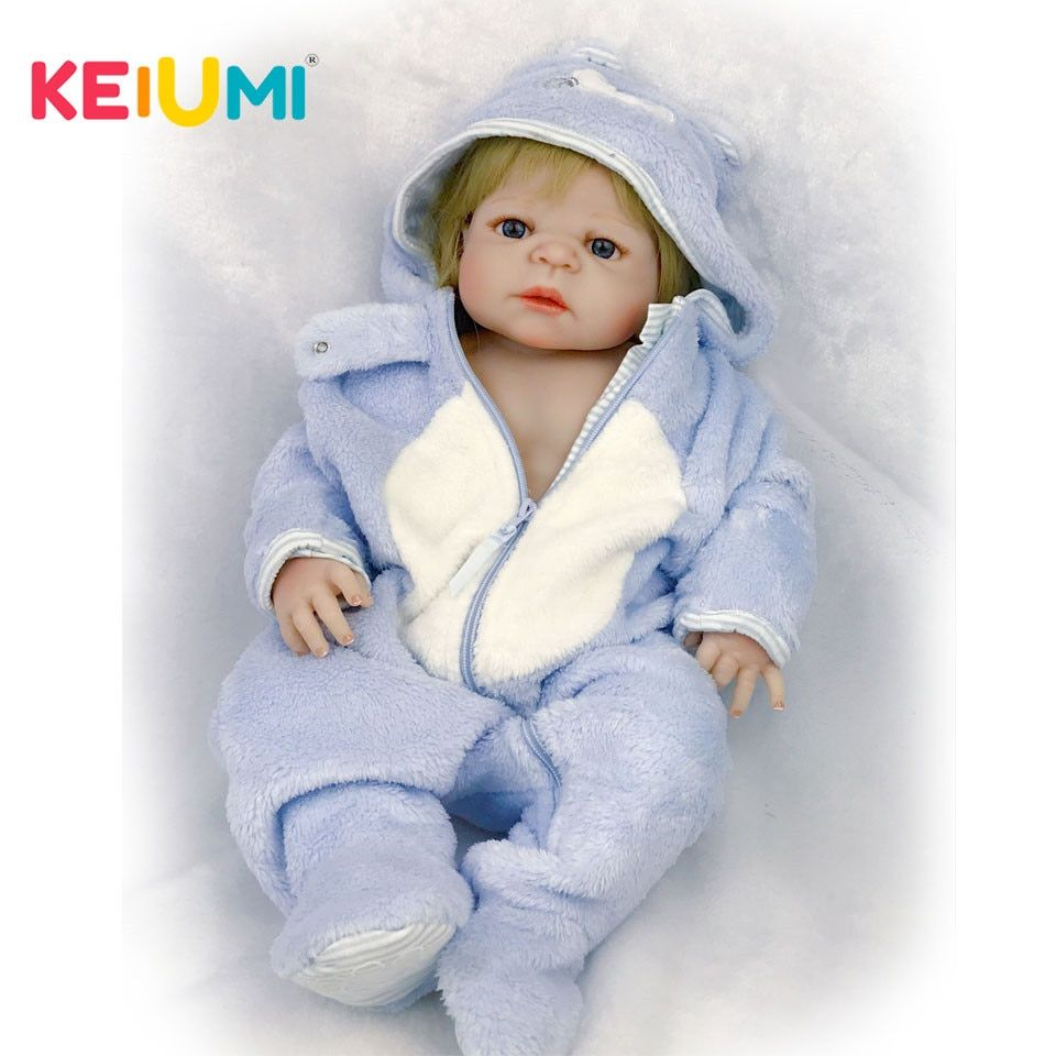 KEIUMI 57 cm Lifelike Reborn Babies Full Silicone Body Real Baby Doll For Boy Toddler Toys with Gold Hair kids Xmas Gifts