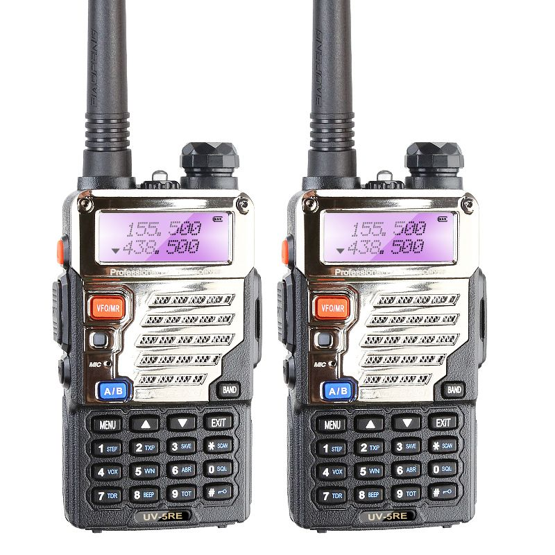 2PCS Free Shipping BAOFENG UV5RE VHF/UHF Dual Band 5W 128CH FM VOX Two Way Radio+Earphone