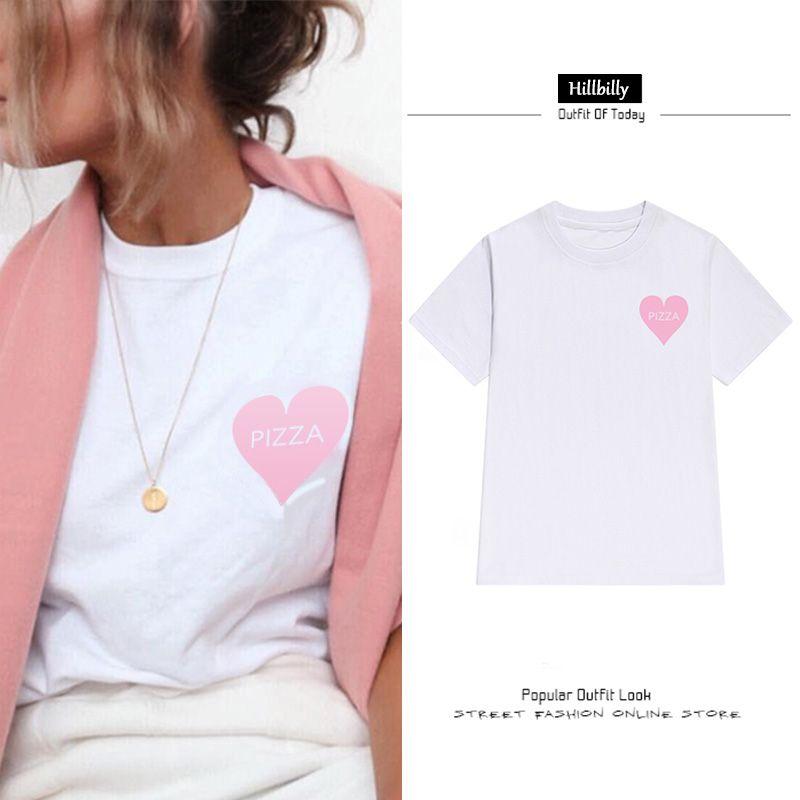 Hillbilly Nouveau Cœur Pizza T-shirts Femmes Lettre Impression Mode Grande Taille Street Wear Tees T-shirts D'été 2017 Fille Cadeau C1-41