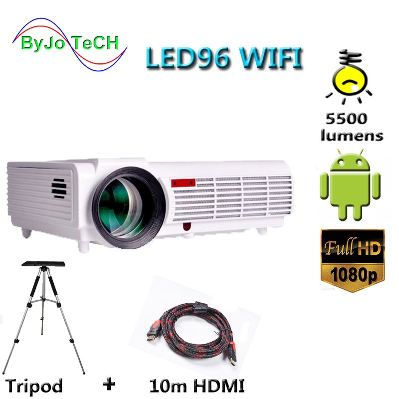 Poner Saund LED96 WIFI projector 3D 5500 Lums Full HD Android 6.0 Wireless Multi-screen interactive 10m HDMI Tripod 3D Proyector