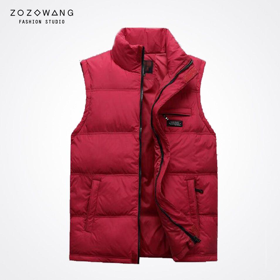zozowang  new autumn winter down cotton vest men thicken plus size stand collar  men black jacket and vest
