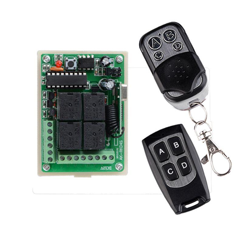 DC 12V 4 <font><b>Channel</b></font> Relay Wireless Lighting Remote Control Switch Syatem 315mhz 433mhz 10A 4CH Transmitter Receiver