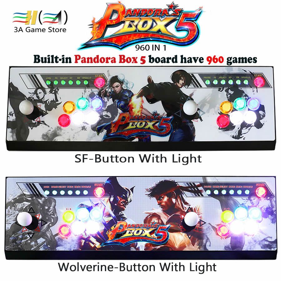Pandora's box 5 960 in 1 game arcade console usb joystick arcade buttons with light 2 players control machine pandora box 5 HD