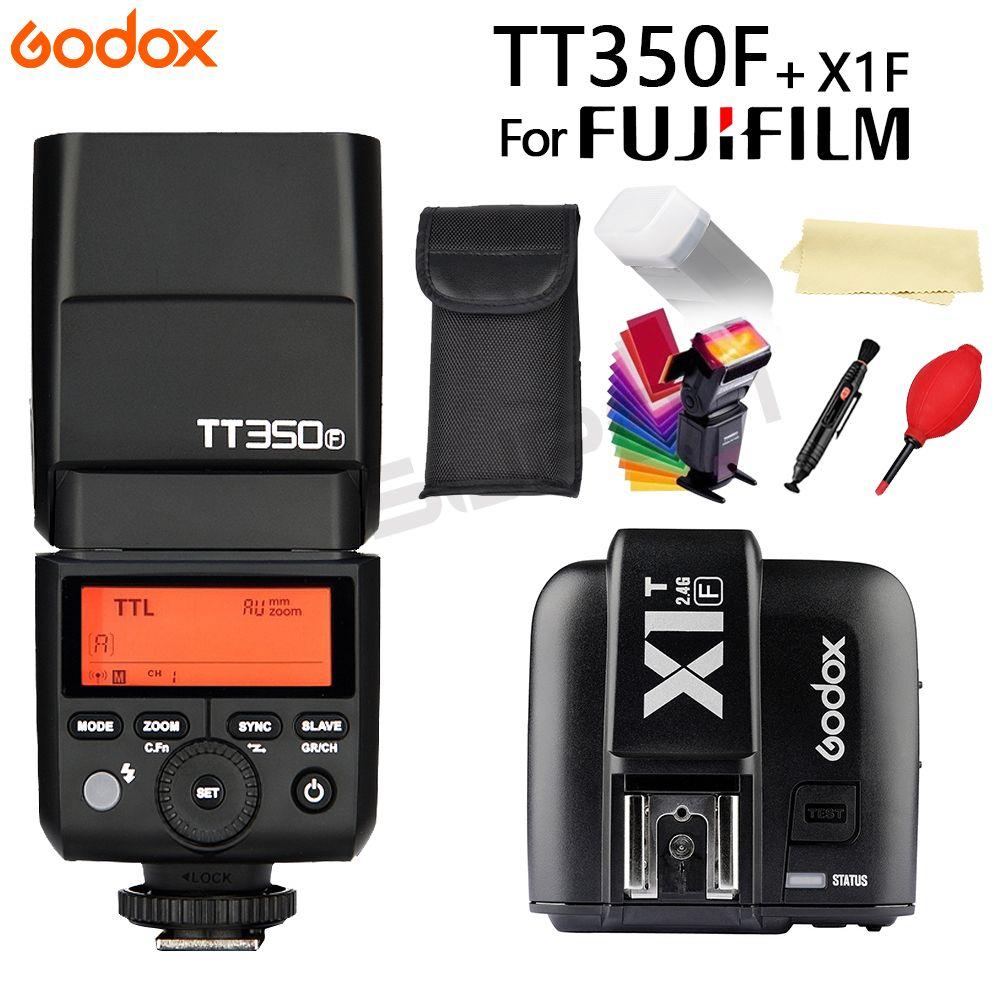 Godox Flash TT350 TT350F GN36 2.4G TTL Camera Flash Speedlite for Fujifilm fuji Cameras + X1T-F Trigger Transmitter+Gift