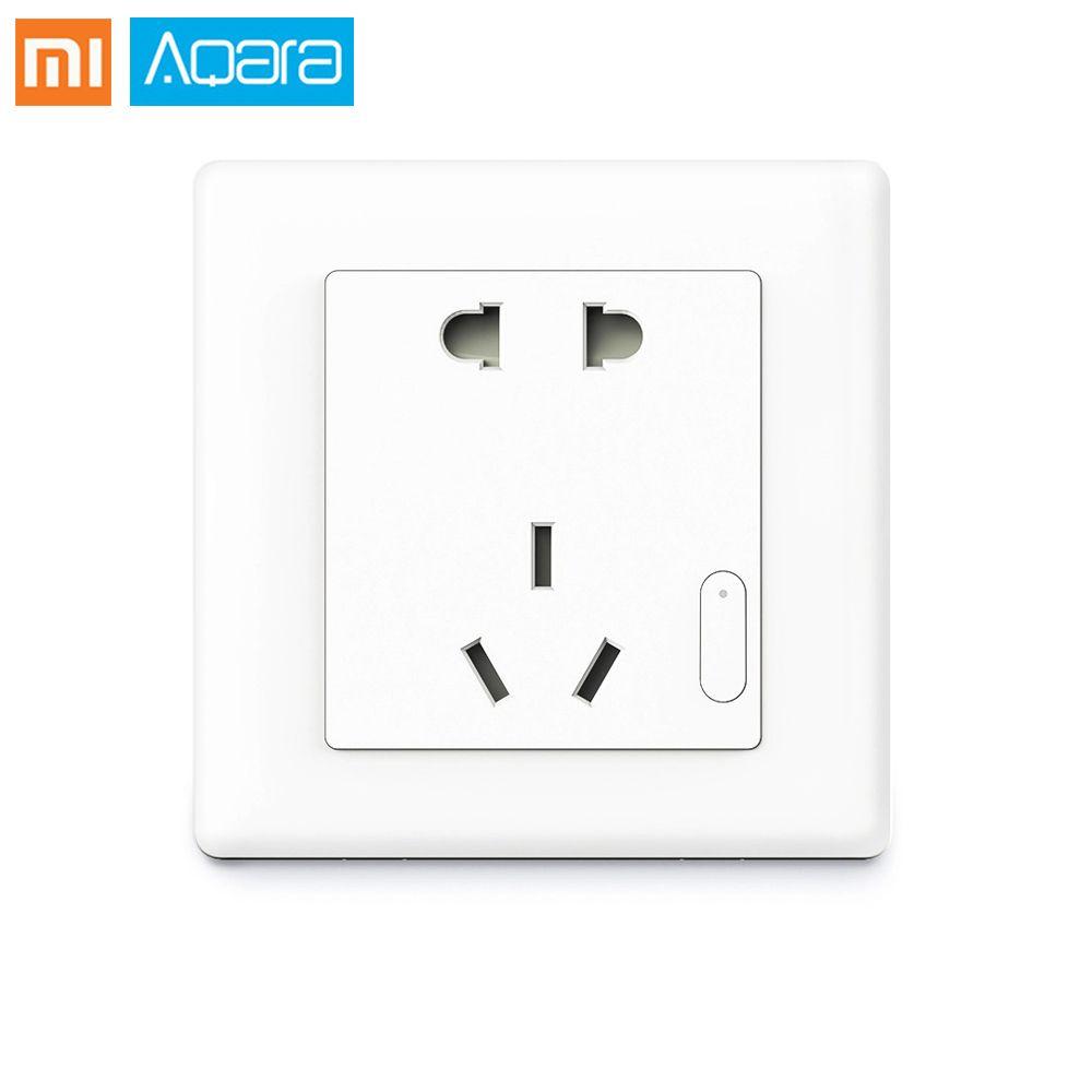 Original Samrt Aqara Smart Wall Socket ZigBee Wireless Switch Work For Xiaomi Smart Home Kits APP