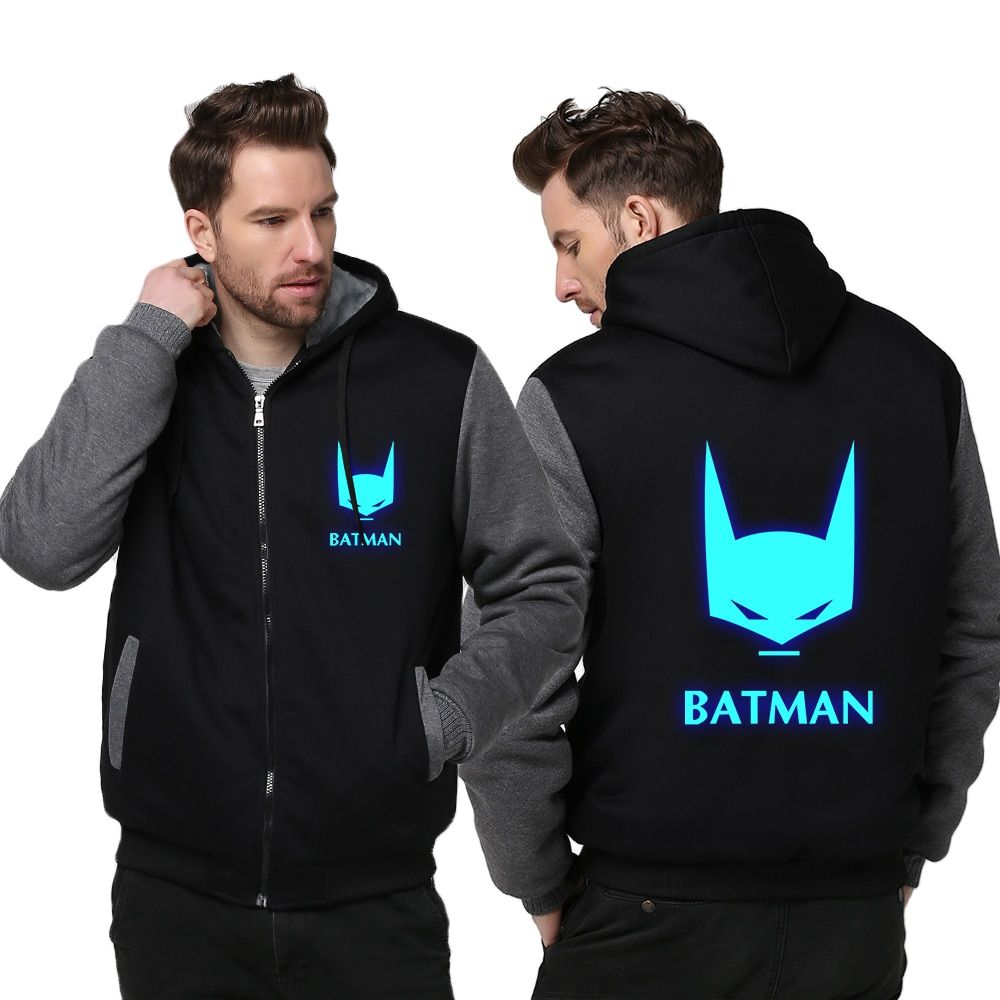 USA size Batman The Dark Knight Men Women Cosplay Luminous Zipper Jacket Sweatshirts Thicken Hoodie Coat