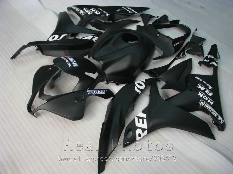 ABS injection molded for Honda fairing kit CBR600RR 2007 2008 matte black fairings set 07 08 CBR 600RR TP06