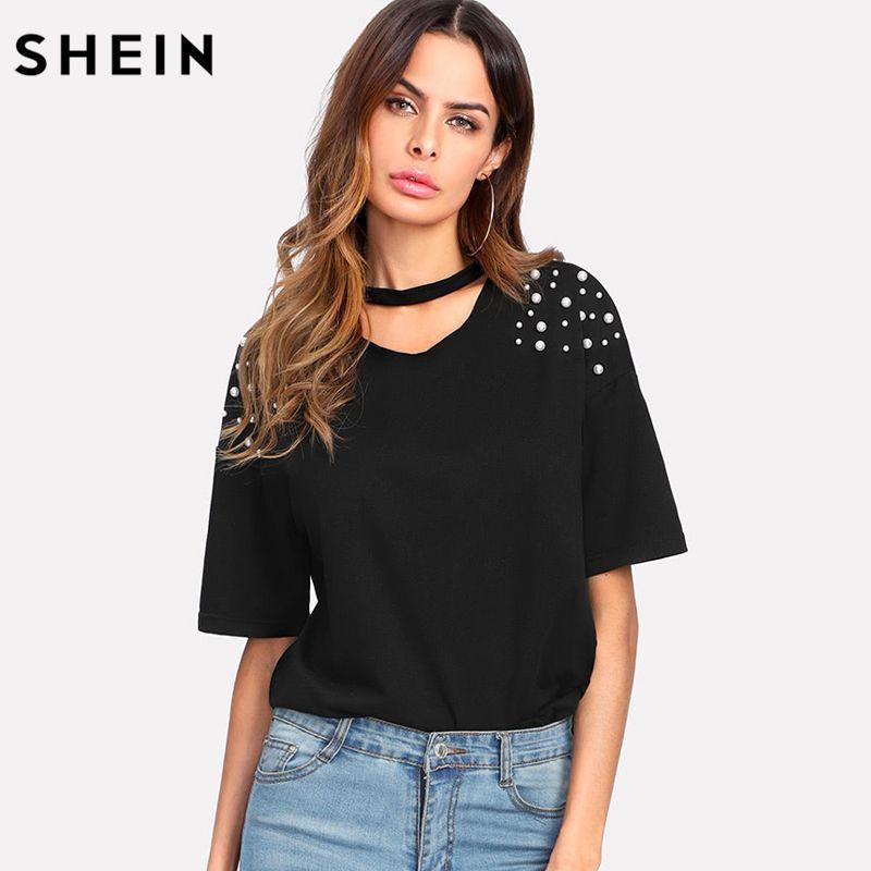 SHEIN Pearl Beaded Choker Neck Tee Casual Women T shirt 2018 Summer Elegant Tops Black Short Sleeve V Neck Cut Out Tee Shirt