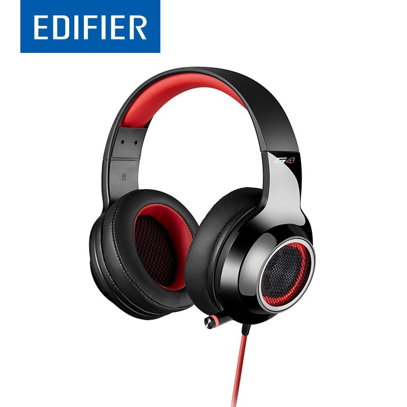 EDIFIER G4 Gaming Headphones With Scalable Mic 7.1 Virtual Surround Sound LED Vibration <font><b>Effect</b></font> Line Control USB Gaming Headset