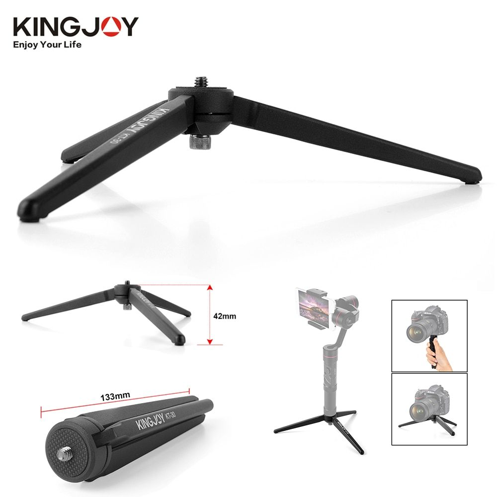 KINGJOY KT-30 Aluminum Portable Mini Tabletop Tripod Leg for DSLR Digital Camera Zhiyun Smooth Q 3 Crane Crane-M Crane2 Moza Air
