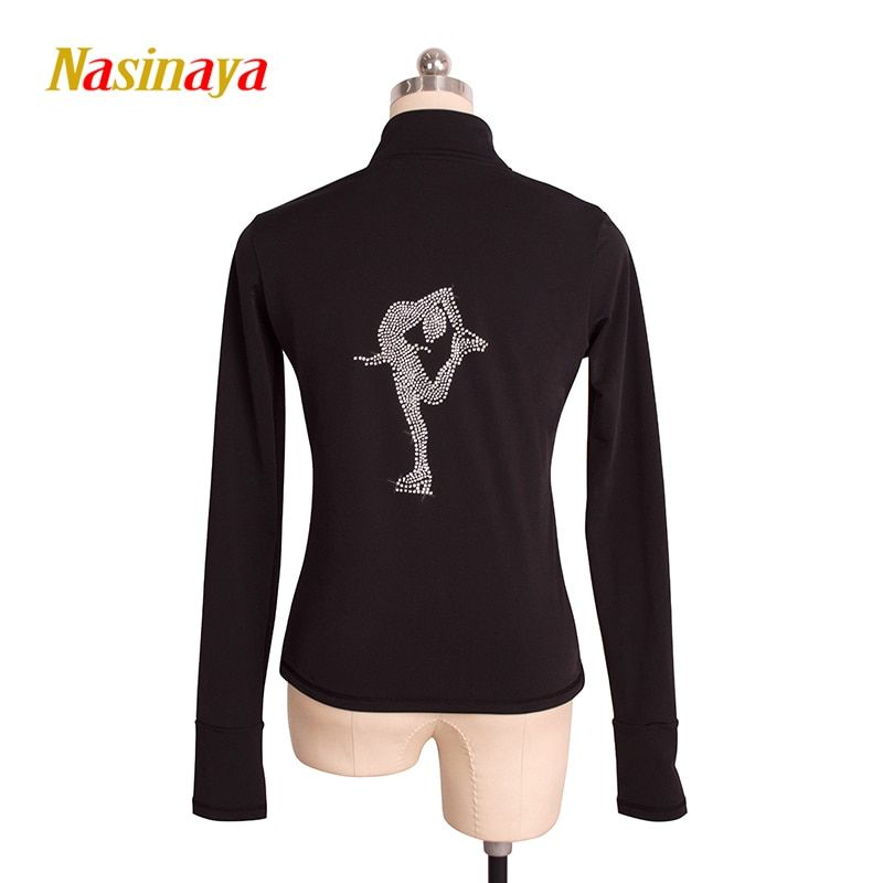 Customized Figure Skating Jacket Zippered Tops for Girl Women Training Competition Patinaje Ice Skating Warm Fleece Gymnastic 31
