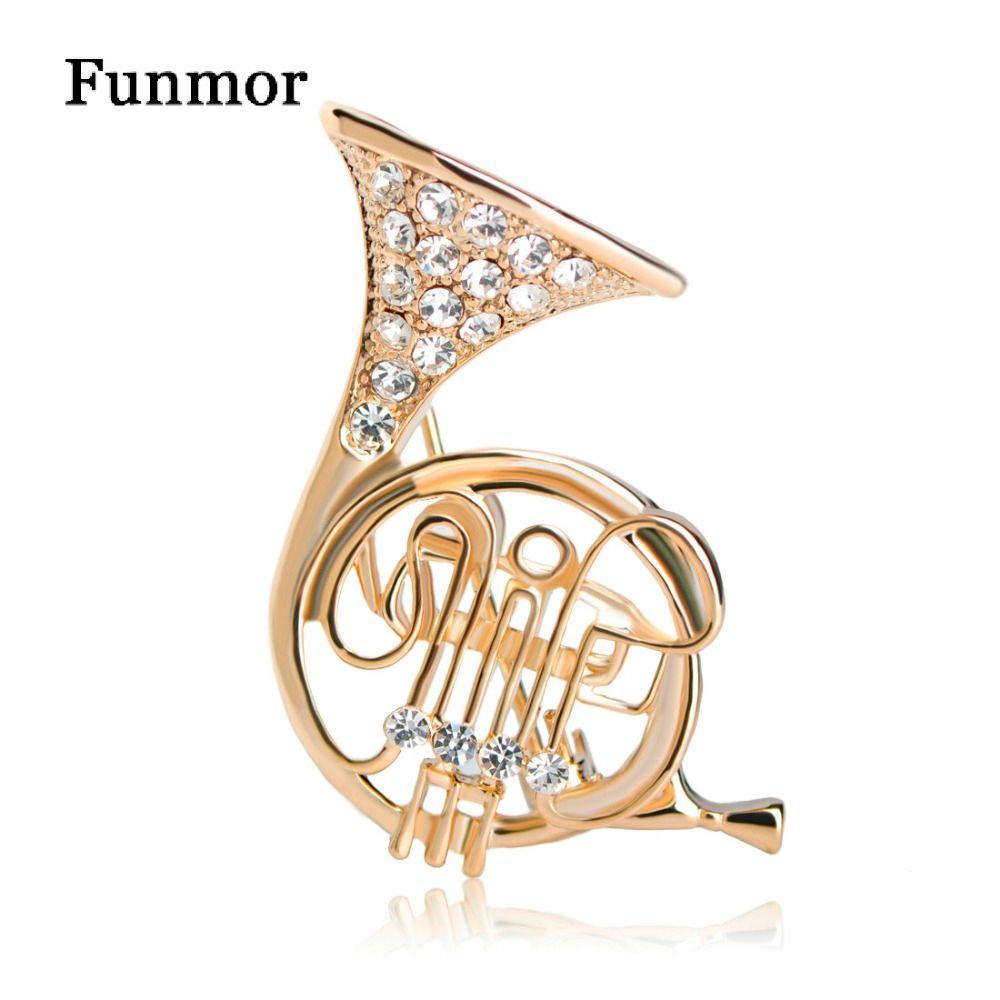 Funmor Neue Hochzeit Brosche Pins Für Frauen Französisch Horn Form Hut Schal Zubehör Broach Musical Broche Mujer Anzug Kragen Clips