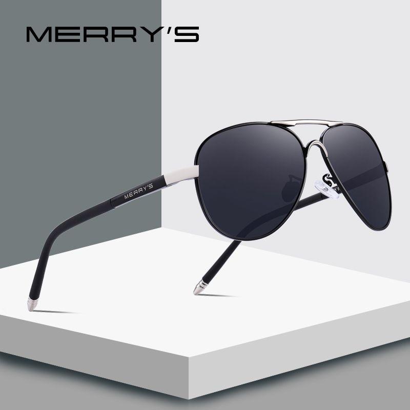 MERRY'S Hommes Classique Pilote Lunettes De Soleil HD En Aluminium Polarisées Conduite lunettes de Soleil Luxe Nuances UV400 S'8513