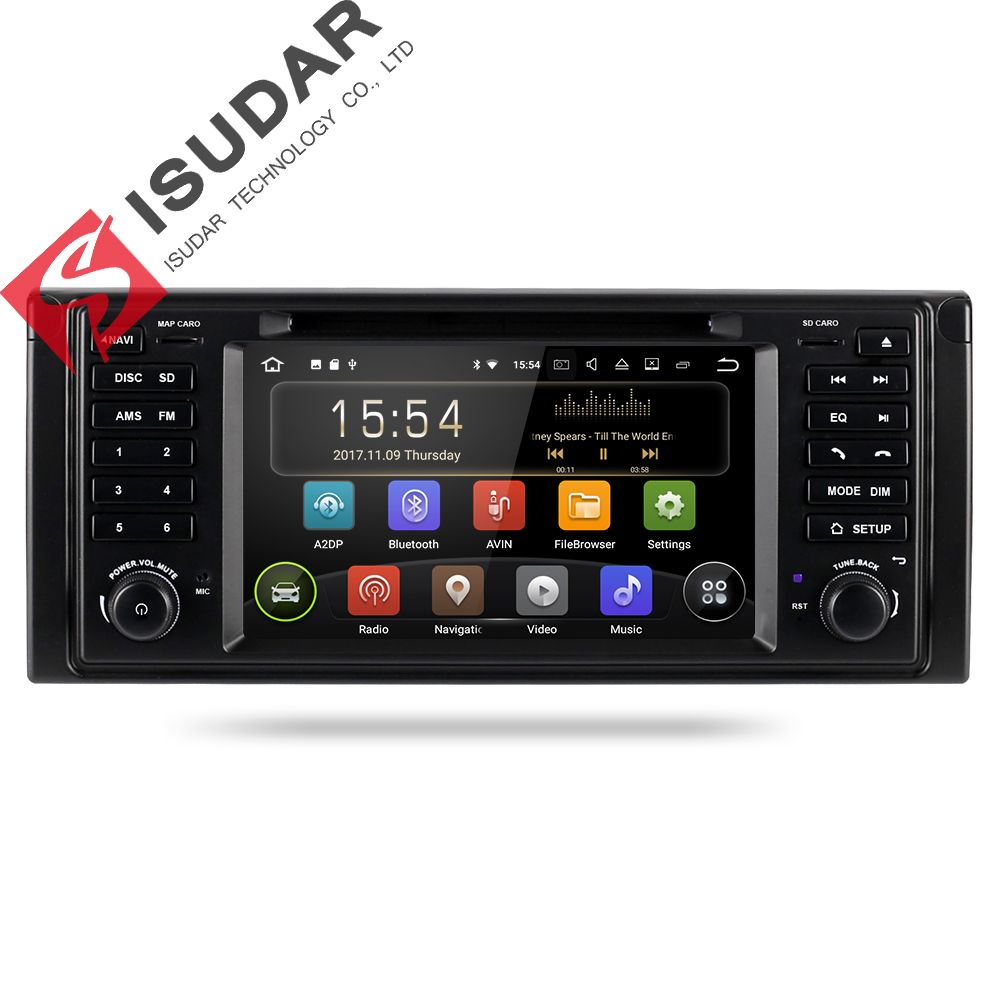 Isudar Car Multimedia System Android 8.1 1 Din Automotivo DVD For BMW 5 Series/X5 E53 E39 GPS Radio FM Quad Core 2+16GB USB DVR