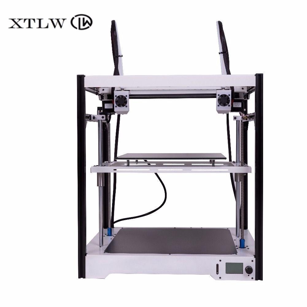 Neueste Dual Extruder 3D drucker Unabhängige Dual Extruder Große größe Blatt Metall rahmen Hohe Qualität Präzision DIY kit LCD