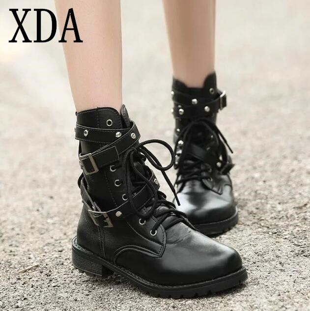 XDA 2019 Motorcycle Boots Ladies Vintage Combat Autumn Boots Army Punk Goth women boots Women Biker PU Leather Short Boots