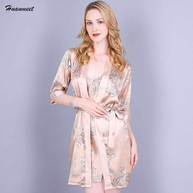 Women Satin Nightgown Robe Set Sexy Mini Nightwear Casual Sleepwear Silk Pajamas Night Dress and Robe Set Satin Two Pieces Set