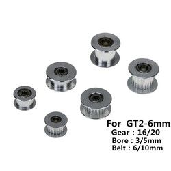 3D Printer GT2 Pulley 16/20 Without Teeth Pulley 16/20Teeth OR Without Teeth Timing Gear Bore 3/5mm for 2GT Belt Width 6/10mm
