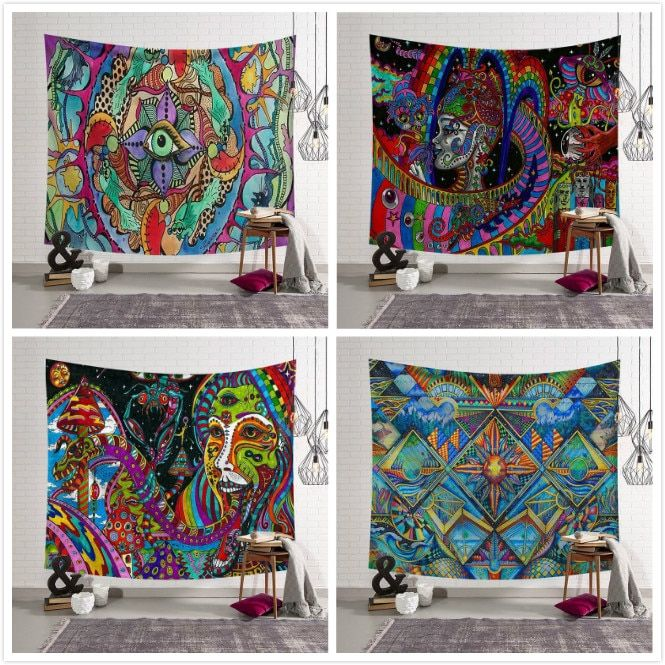 Home Colourful Face Oil Painting Mandala Tapestry Gypsy Hippie Wall Hanging Dorm Cover Bedspread Yoga Mat Moroccan Decor
