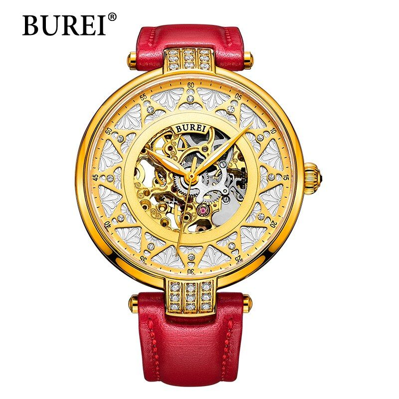 2017 New BUREI Skeleton Movement Rose Golden Dial Sapphire Lens Automatic Watch Wristwatch For Women With White Leather Strap
