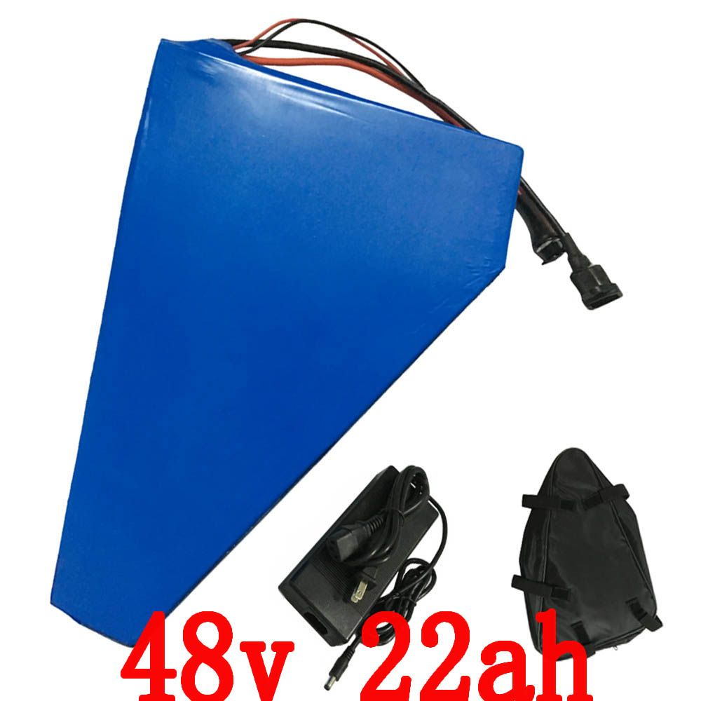 1200W Electric Bike Battery 48V 22AH triangle Lithium battery with PVC Case 30A BMS, 54.6V 2A charger,Free triangle bag