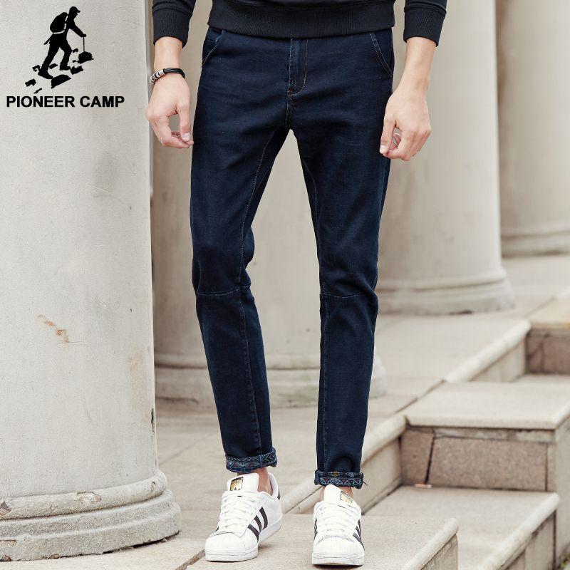 Camp pionnier Nouvelle bleu foncé épais jeans hommes marque vêtements mode mâle denim pantalon qualité automne hiver denim pantalon 611045