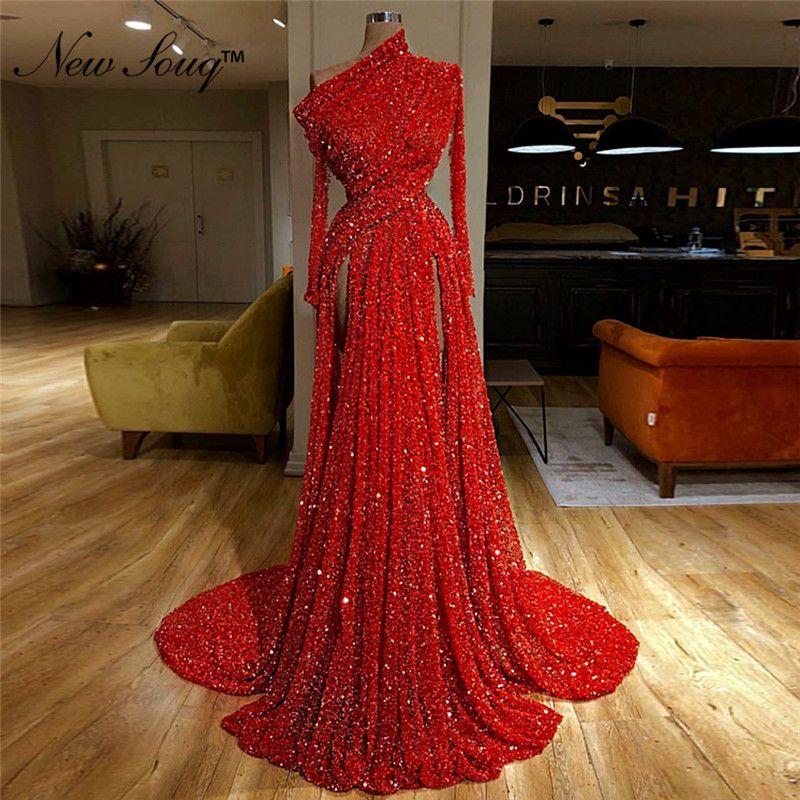 Hot Sexy High Split Pailletten Abendkleid Arabisch Dubai Lange Prom Kleider 2019 Robe De Soiree Promi Party Kleider Vestidos