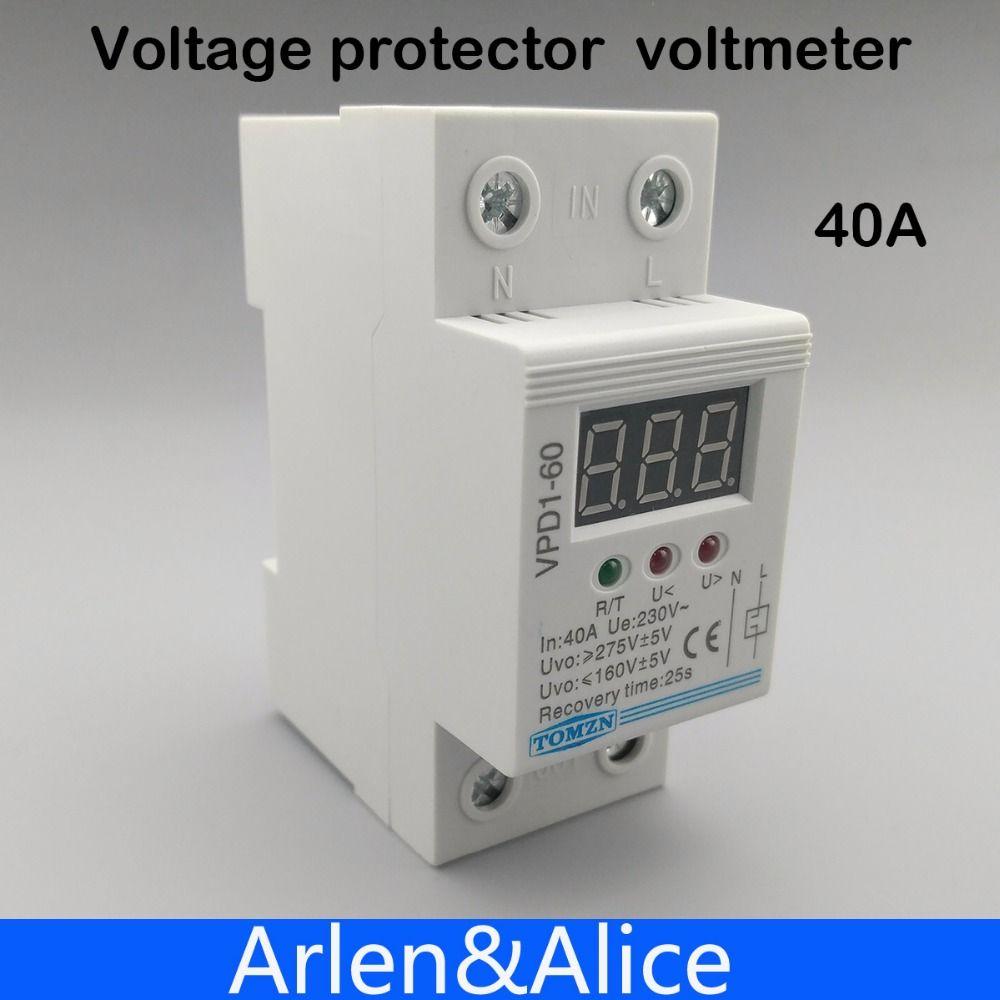 40A 220 V reconnexion automatique sur tension et protection contre la sous-tension relais de dispositif de protection avec voltmètre moniteur de tension