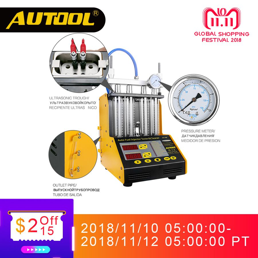 AUTOOL CT150 Car Injector Tester Ultrasonic Cleaning Auto Fuel Injectors Cleaner For Vehicle Repair 4 Cylinder Diagnostic Tool