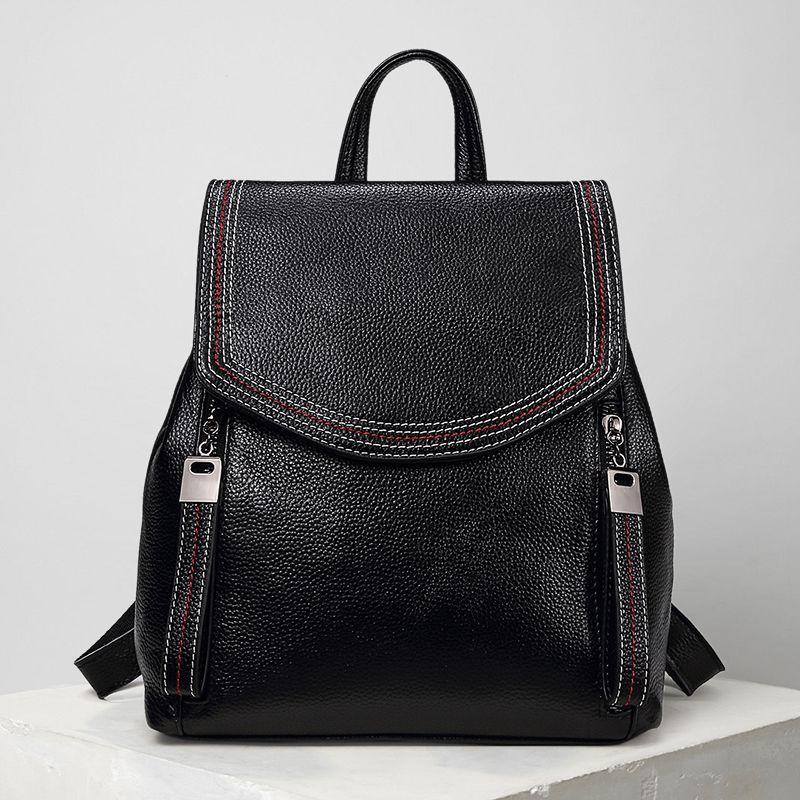 Fashion Women Backpack 100% Genuine Leather Female Knapsack Small Elegant Lady Shoulder Bag School Bag for Teenage Girls #LF191