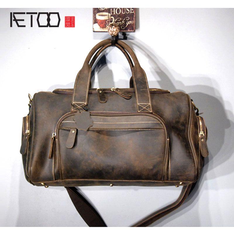AETOO Trend retro, tragbare reisetasche, crazy horse leder, einzelner schulter-oblique geschultert männer tasche