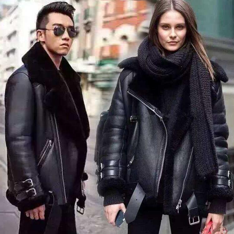 new 2016 winter lovers designer leather genuine sheepskin leather motorcycle jacket couple wool fleece lined coat black xxl