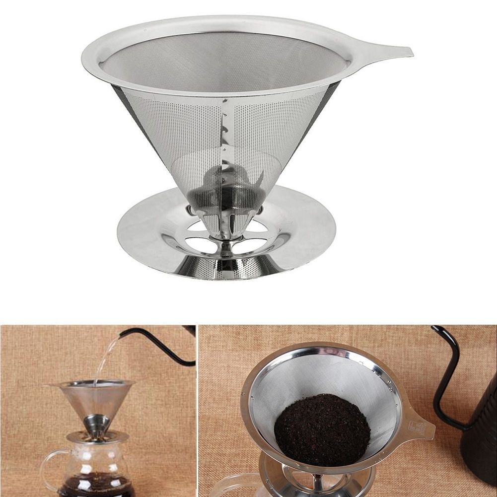 New Paperless Pour Over Coffee Dripper Stainless Steel Reusable Coffee Filter