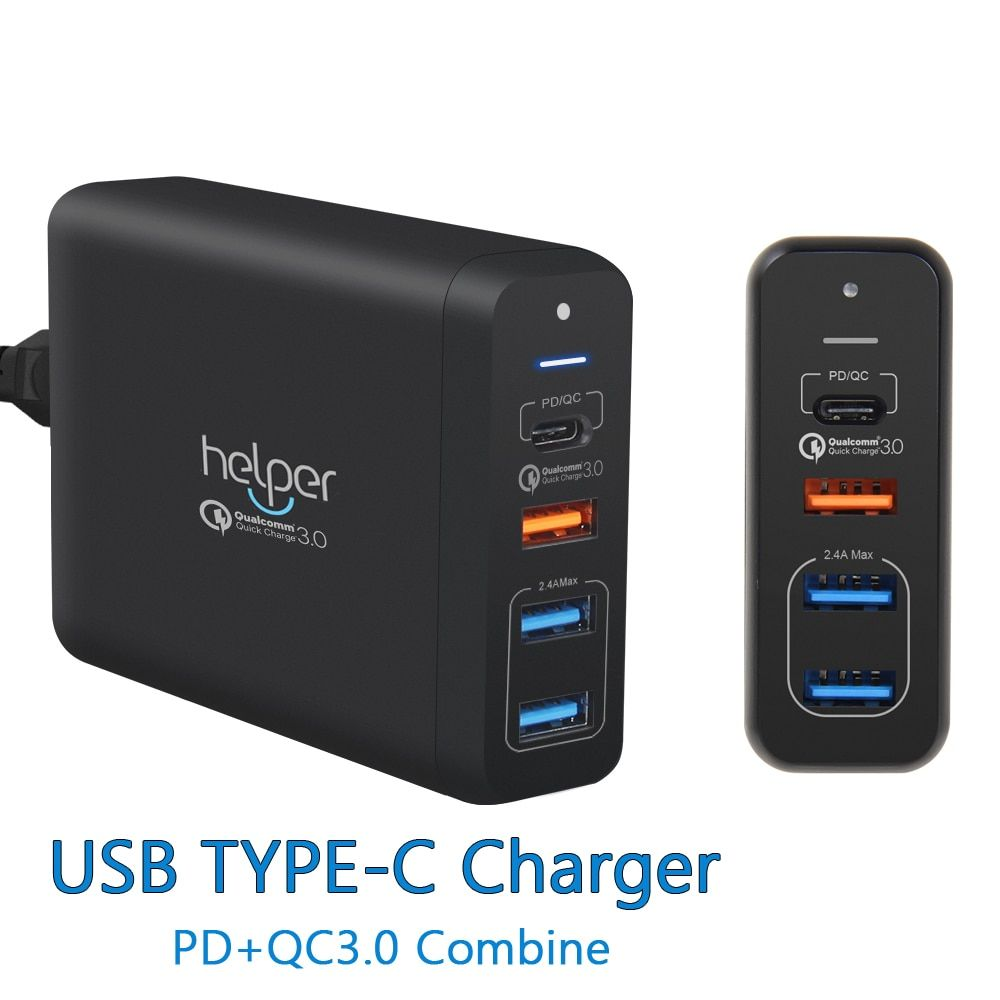 USB Type-C PD Charger 75W 4-Ports USB-C PD Quick Charge 3.0 Smart Desktop Charger with Power Delivery for XiaoMi Air DELL XPS