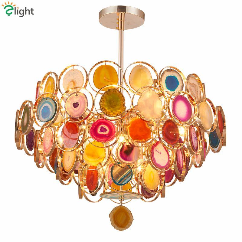 Art Deco Achat Led E14 Anhänger Licht Platte Metall Rohr Anhänger Lampe Innen Leuchten Lamparas Glanz Luminarie Led Lampe