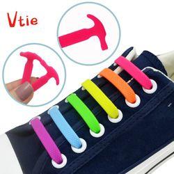 12 unids/set niños No lazo cordones silicona deslizamiento fácil zapato cordones