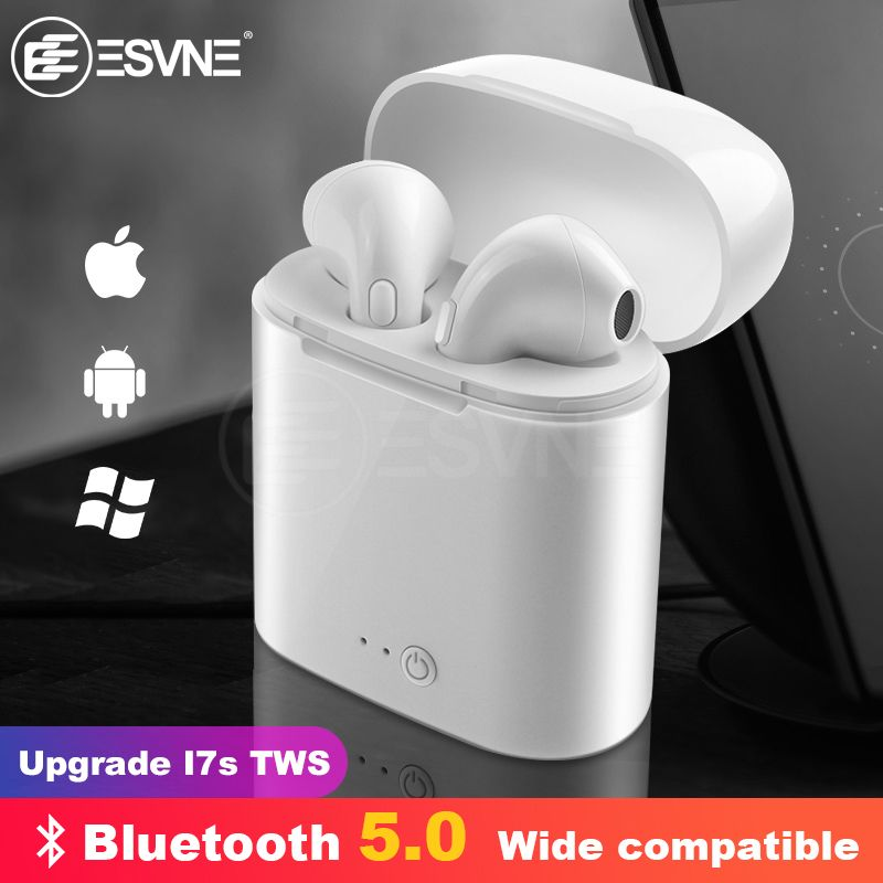 ESVNE I7s TWS Bluetooth Wireless Earphone Stereo Earbud Headset With Charging Box Mic All Bluetooth tablet Smartphone