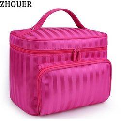 Woman Cosmetic Bags Striped Pattern Organizer Makeup Bag Folding Travel Toiletry Bag Large Capacity Storage Beauty Bag ZL900Z