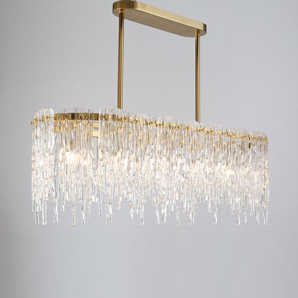Luxus design rechteckigen kronleuchter LED lampe AC110V 220 V glas esszimmer wohnzimmer hängen lichter