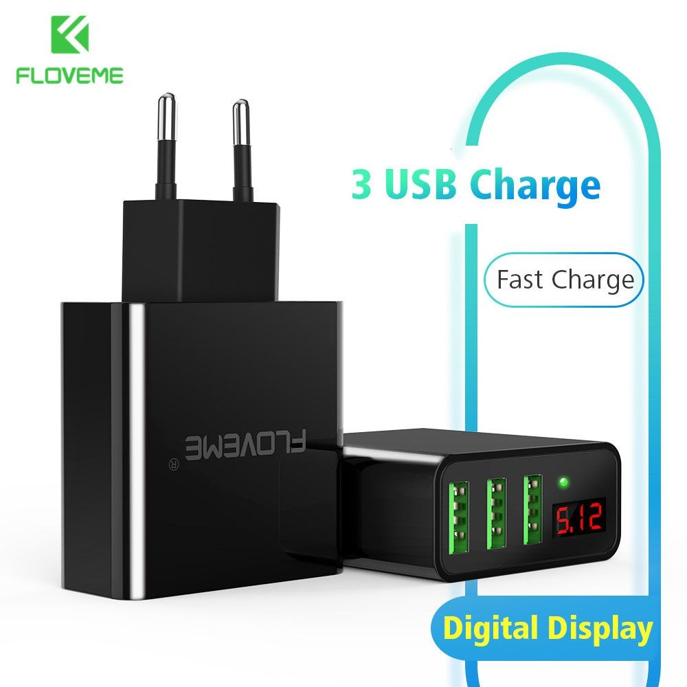 FLOVEME 3 Port USB Chargeur Adaptateur Pour iPhone Xiaomi Samsung LED Affichage Chargeur Pour Téléphone Rapide Universel Voyage USB Chargeur