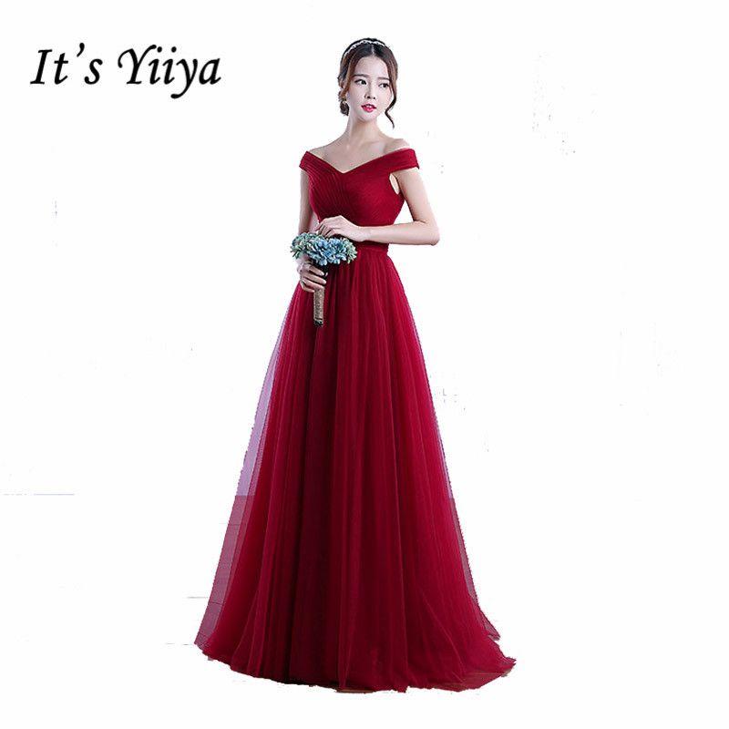 Il Yiiya Sans Manches Rouge de Clare Rose Sans Bretelles Formelle Robes de Sexe Longue de Demoiselle D'honneur Sur Mesure Robes De Mode Robes Robe YA003