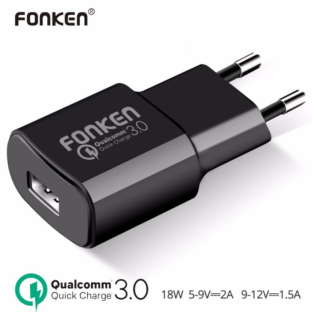 Fonken USB Зарядное устройство Quick Charge 3.0 fast Зарядное устройство qc3.0 qc2.0 USB адаптер 18 Вт Портативный стены Зарядное устройство для Зарядные устрой...