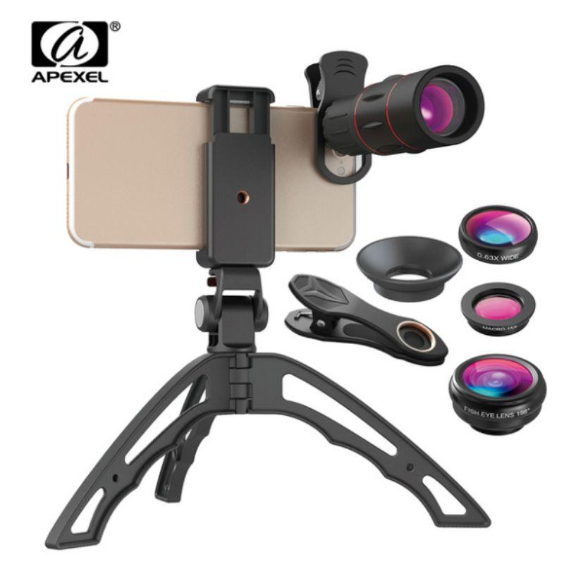 18X Télescope Mobile Téléphone Lentille Monoculaire lentille avec 3 en 1 fisheye large lentille macro + mini trépied pour iphone cellulaire téléphone
