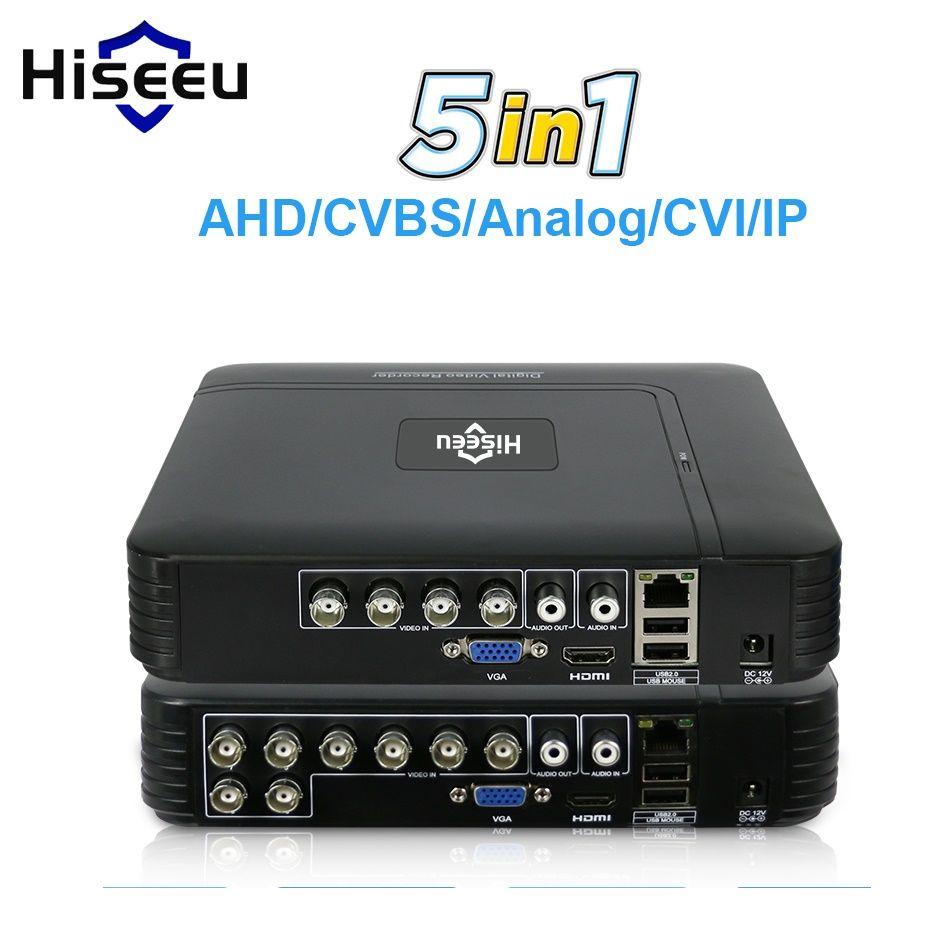 5 en 1 CCTV Mini DVR TVI CVI AHD CVBS caméra numérique enregistreur vidéo 4CH 8CH AHD DVR NVR système de vidéosurveillance P2P sécurité Hiseeu