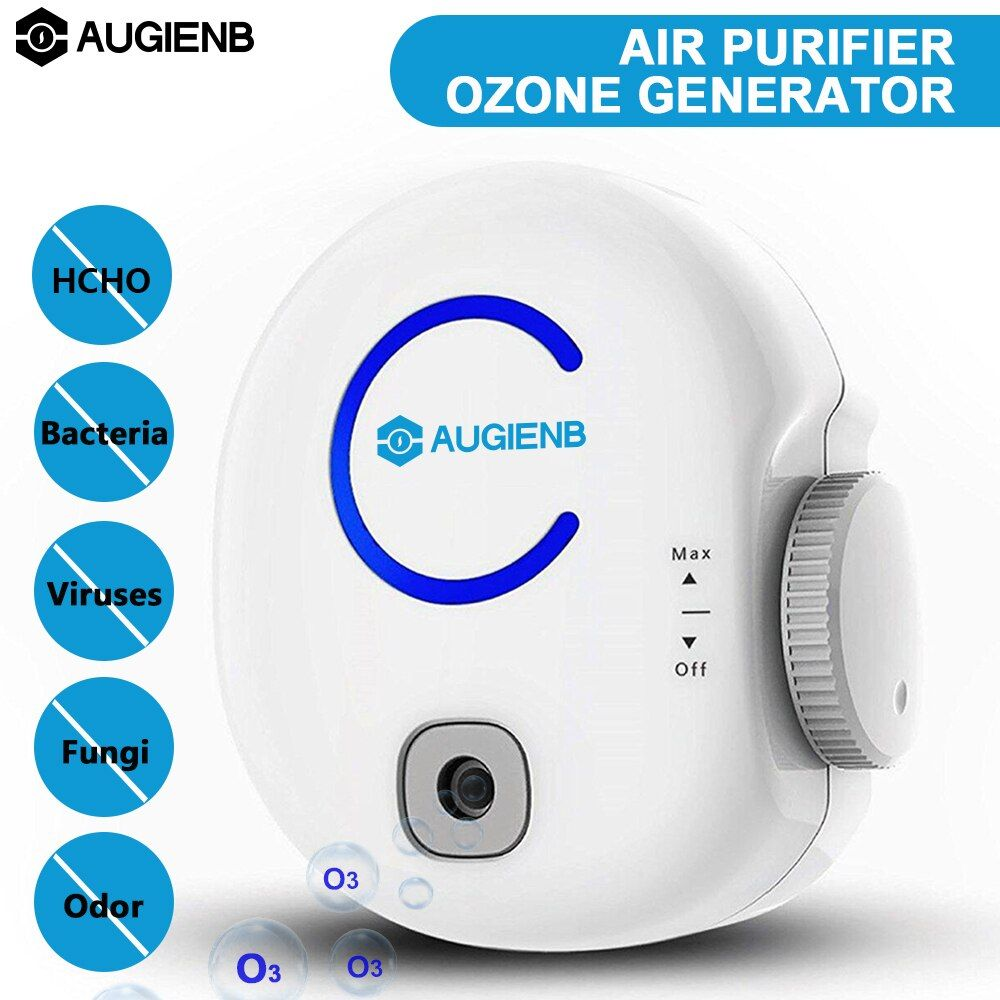 AUGIENB Portable Odor Eliminator Plug-In Ionic 0-50mg 100-240V Air Purifier & Ozone Generator O3 Disinfector Deodorizer
