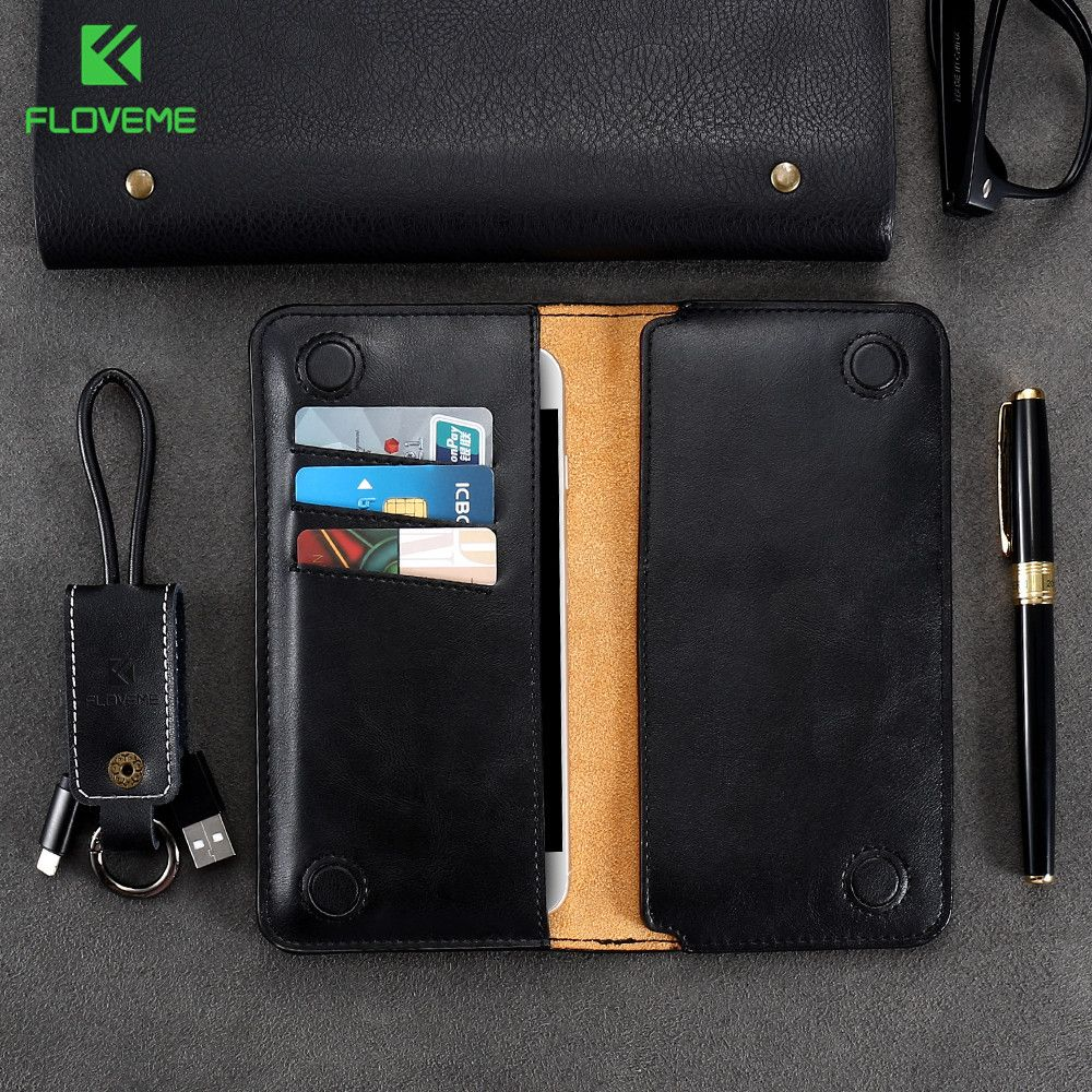 FLOVEME 5.5 pouces portefeuille sac étui pour samsung S8 S9 S7 S6 edge couverture classique en cuir pochette pour iPhone X 8 6 s 7 Plus 5 5 S se