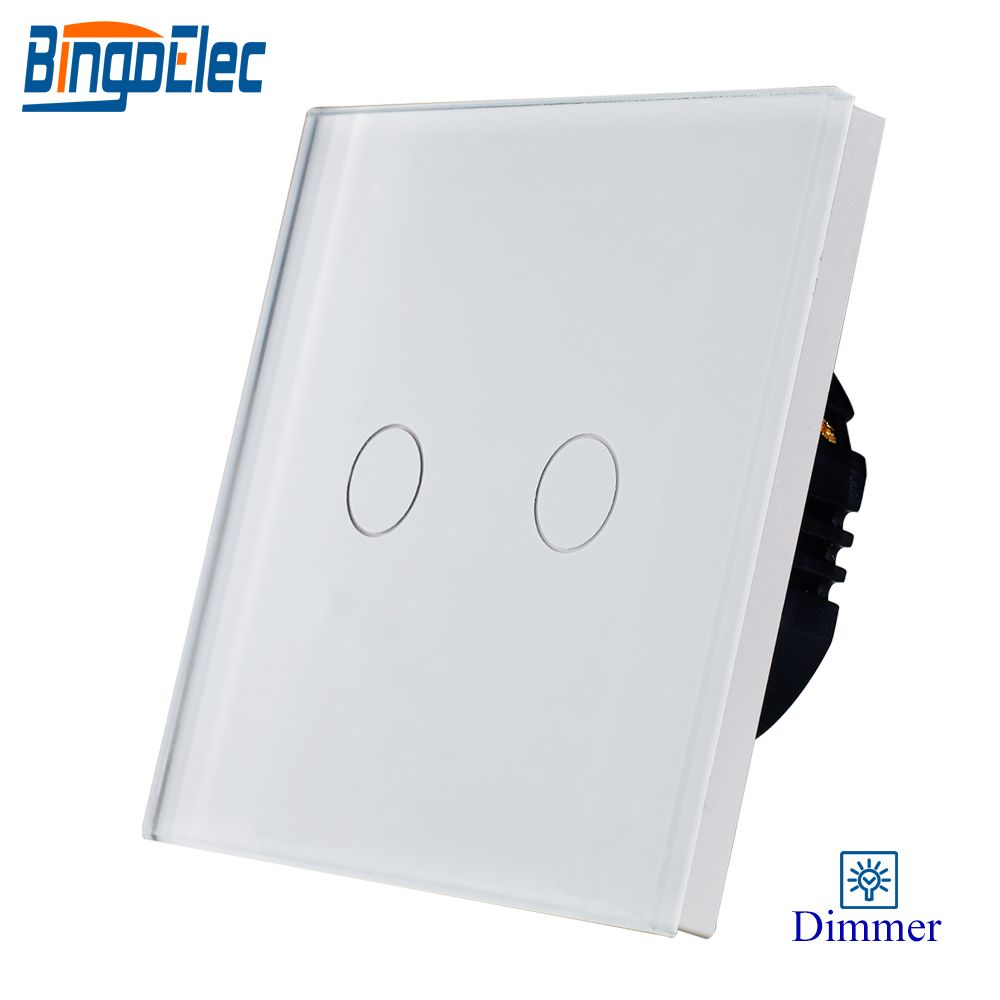 Bingoelec 2gang 1way dimmer light switch,white glass panel touch dimmer switch ,fan controller switch