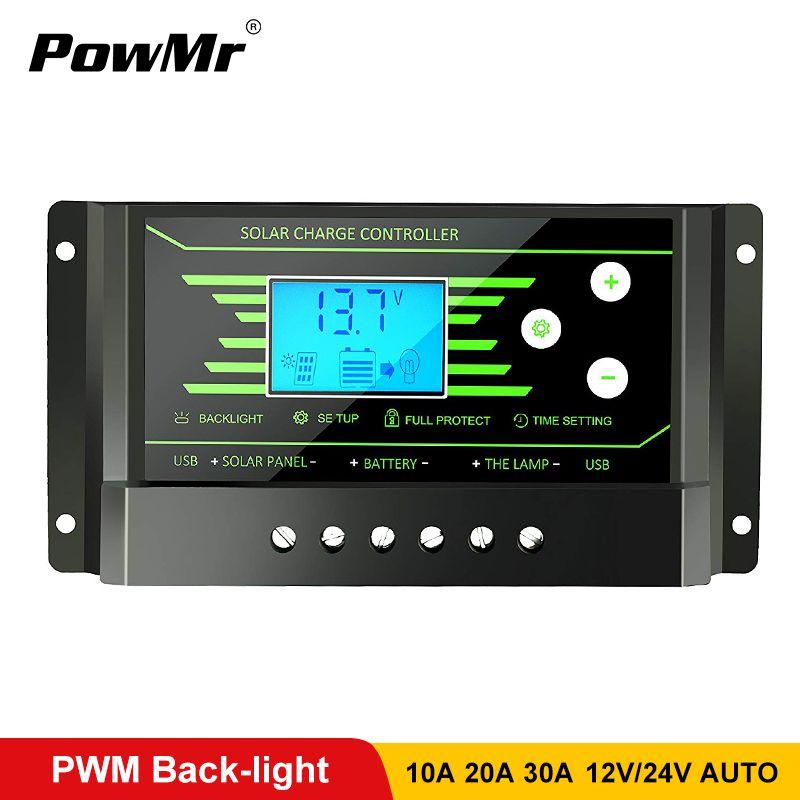 Contrôleurs solaires PWM 30A 20A 10A 12V 24V Auto PV contrôleur de Charge solaire rétro-éclairage LCD affichage double 5V USB régulateur de batterie