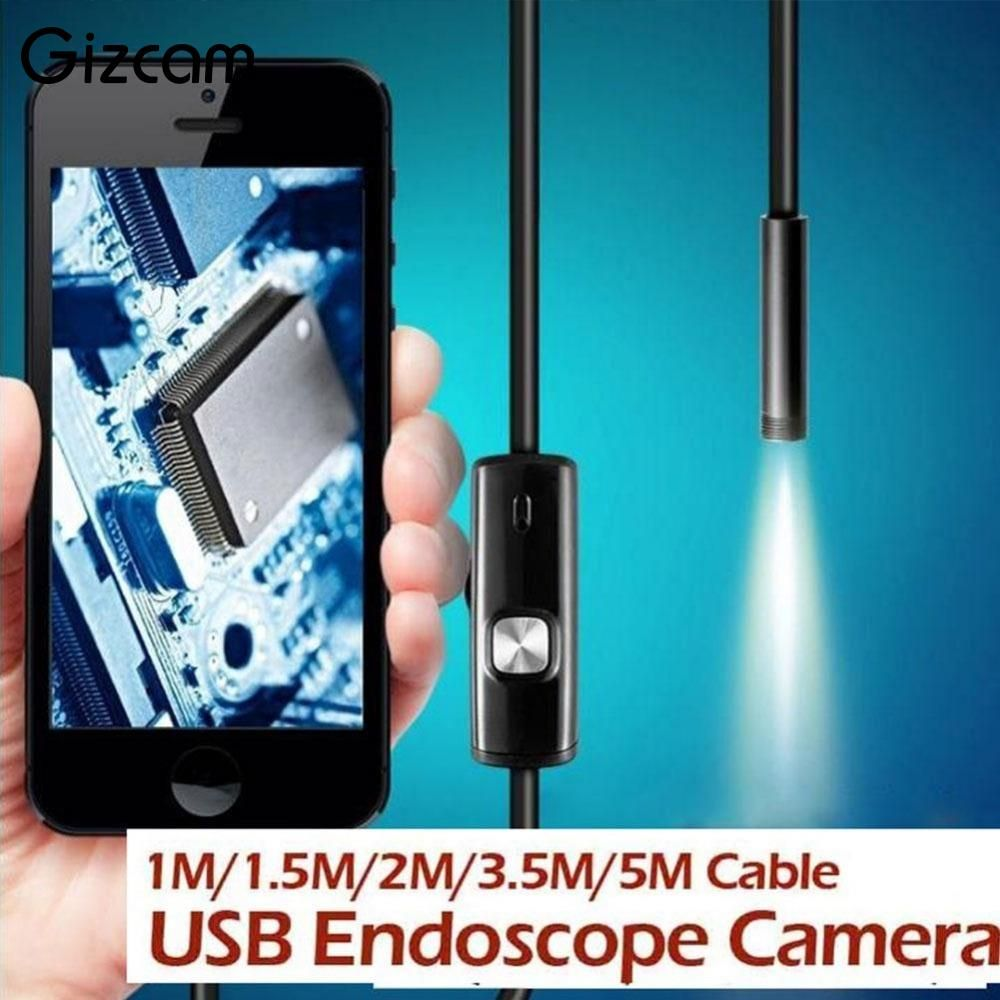 Endoscope Gizcam 1/1. 5/2/3.5/5 M 7mm étanche IP67 Android Endoscope Inspection 6 LED Tube vidéo Mini caméra Micro caméra